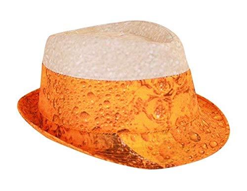 (shoperama Trilby Hut mit Bier Druck Erwachsene Mütze Karneval Verkleidung Party lustig JGA Junggesellenabschied)