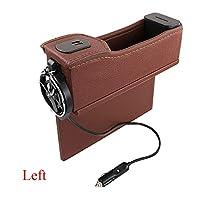 صندوق تخزين منظم مقعد السيارة، جيب جانبي متعدد الوظائف، حزام شحن USB مزدوج مع شاشة رقمية، حامل كوب تلسكوبي محمول، بني يسار