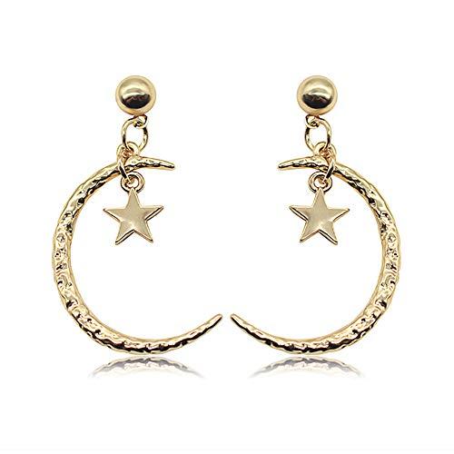CAOLATOR 1 Paar Stern Mond Ohrringe Damen Gold Ohrhänger Boho Vintage Zubehör Schmuck (Gold)