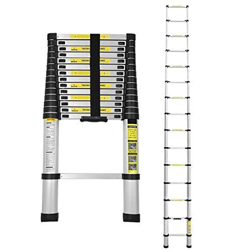 Krispich Teleskopleiter 4,4m Anlegeleiter Alu Ausziehleiter Mehrzweckleiter Stehleiter Dachboden Loft Leiter mit Fingerklemmschutz, Belastbar bis 150 kg (Dachboden Leiter)