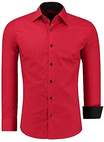 JEEL Combinaison à Manches Longues Chemise Basic Business Loisirs Mariage Slim-Fit, 105 - Rouge