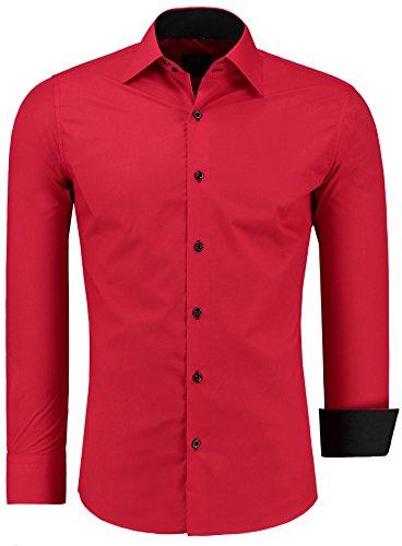 Jeel uomo camicia casual maniche lunghe contrasto slim fit tg s m l xl xxl, rosso s