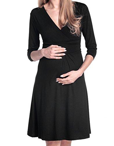 Happy Mama Damen Umstandskleid Festlicher Stretchkleid V-Ausschnitt 282p Schwarz