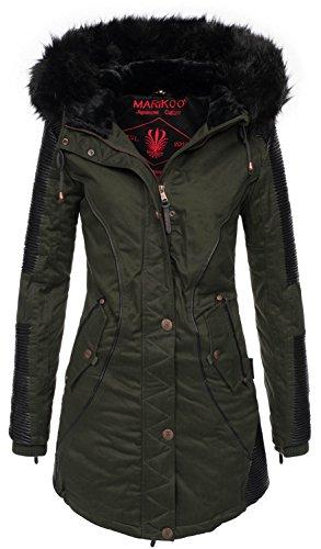 Marikoo - b372 caldo giaccone invernale parka da donna verde xxl