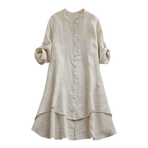 VJGOAL Damen Kleid, Damen Lässige Retro-Baumwolle und Leinen Knopf Lange Tops Bluse Lose Lange Ärmel Mini Hemd Kleid (36, X-Baumwolle-Beige)