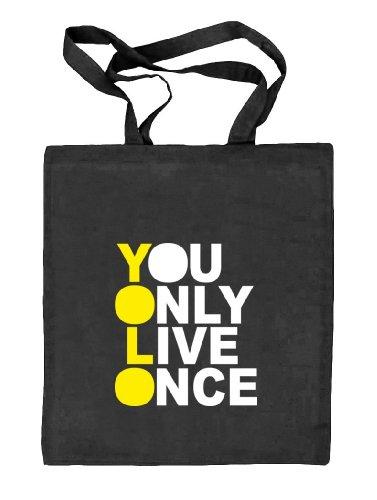 Shirtstreet24, YOLO 3, Stoffbeutel Jute Tasche (ONE SIZE) schwarz natur