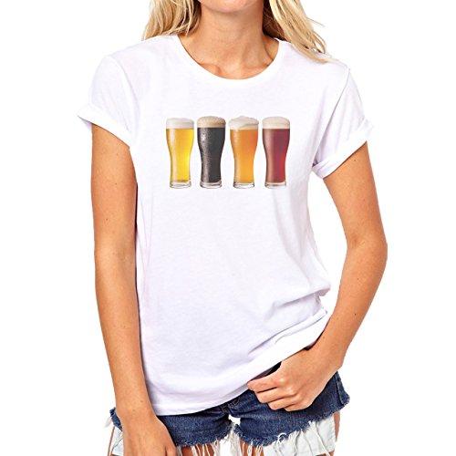 Beer Drink Oktoberfest Glass Line Damen T-Shirt Weiß
