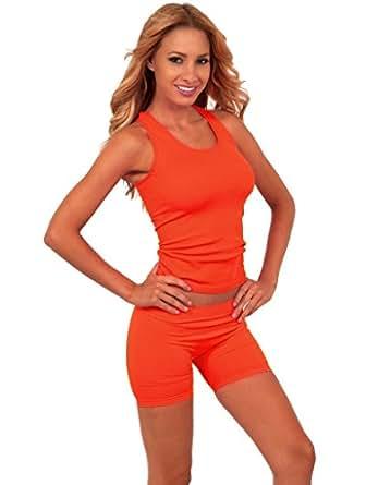 Casual Sexy Versatile Neon Color Stretch Racerback Exercise Gym Tank Top Shirt
