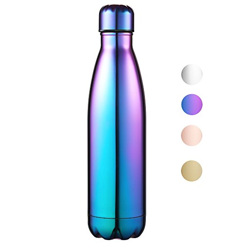 Anjoo Botella de Agua 500 ML, Botella Deportiva de Aluminio Inoxidable con Aislamiento al Vacío, Botella Térmica para Bebidas Frías y Calientes (Púrpura)