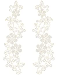 Bordado De Encaje De Cuello Escote Recortes De Venise Coser Apliques Para  Mujer - Blanco cd3f65060e15