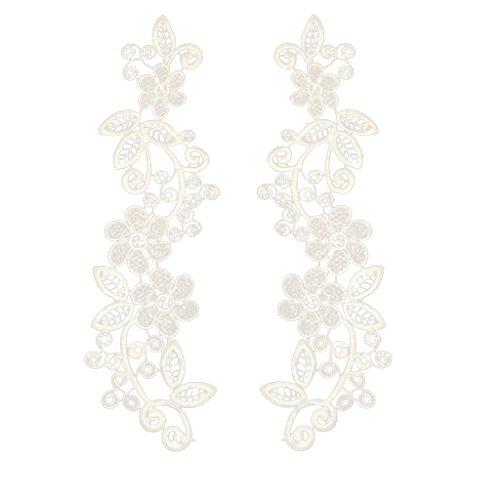 Ausschnitt Spitzenkragen Spitzenborte Spitze Applikation Kleid DIY Weiße Blumenspitze Applikation Gestickt Guipure Hochzeit Spitzemotiv Patch - Weiß