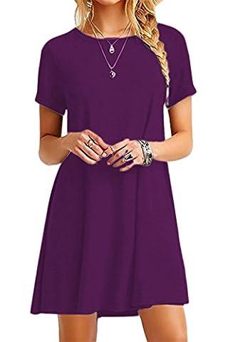 YMING Women Loose Dress Short Sleeve Casual Tunic Round Neck Long Shirt Mini Dress Plus Size,Dark Purple,XXXXL / UK