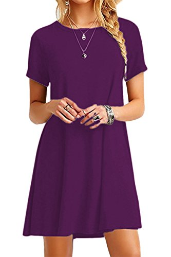 YMING Damen Casual Blusenkeid Lose Tunika Casual T-Shirt Kleid Kurzarm Basic Strickkleid,Dunkel Lila,XXL / DE - Lila