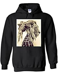 Lion Rasta Hair Funny Novelty White Femme Homme Men Women Unisex Sweat à Capuche Hooded Sweatshirt Hoodie