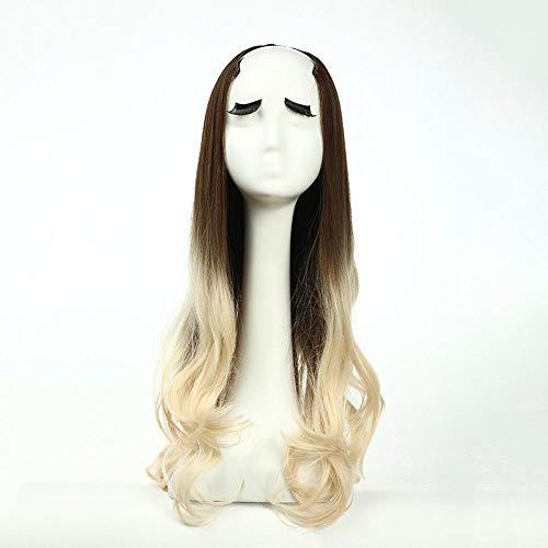 Littlefairy Langes lockiges Haar gefärbt Halbe Ein Stück Perücke, Eine u-förmige Halbe Langes lockiges Haar