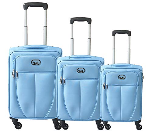 Set 3 trolley valigia tessuto con bagaglio a mano cabina gianmarcoventuri fmxd006st_(blu)