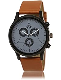 AD Global New Designer Grey Brown Leather Analog Watch For Boys