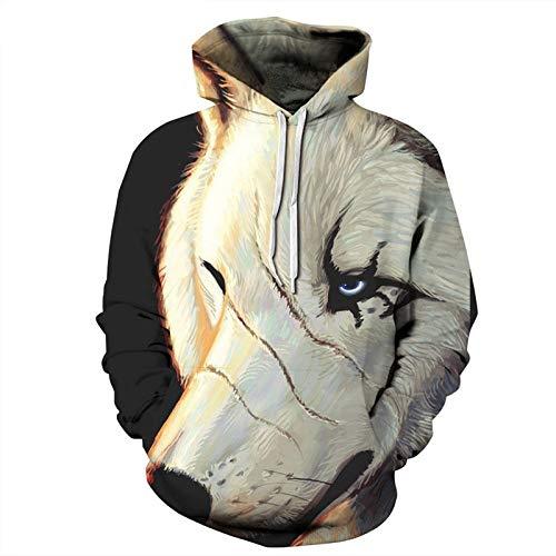 XYL HOME Hoodie,Männer und Frauen realistische 3D-Druckmesser, Wolf Pullover, Kapuzen-Sweatshirt, Hoodie, große Tasche, 5XL