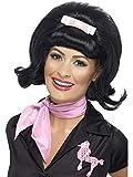 Luxuspiraten - Kostüm Accessoires Zubehör Damen Beehive Bob Perücke Wig mit Bandschleife im 50er Jahre Stil, perfekt für Karneval, Fasching und Fastnacht, Schwarz