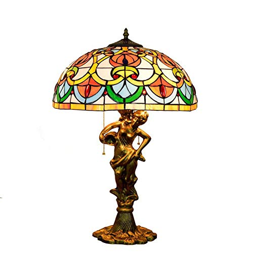 QCKDQ Lámpara de Mesa de Estilo Tiffany de 16 Pulgadas, Perlas de...