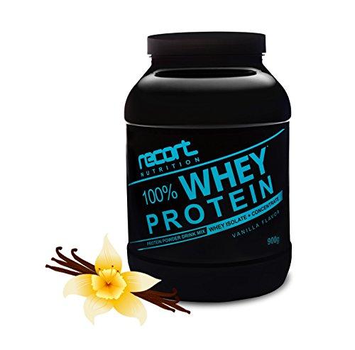 Recort Nutrition Whey Protein Eiweißpulver   Low Carb Eiweißshake mit Aminosäuren und BCAA   Proteinpulver für Muskelaufbau, Abnehmen, Diät, Fitness und Bodybuilding   Hergestellt in Deutschland   VANILLE   900g
