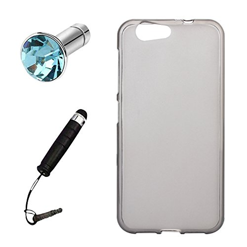 Lusee® Silikon TPU Hülle für ZTE Blade A512 5.2 Zoll Schutzhülle Case Cover Protektiv Silicone halb transparent grau