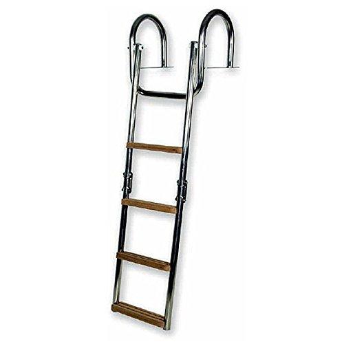 CEREDI Edelstahl Badeleiter mit Handgriff für Steg - klappbar, Größe:3 Stufen