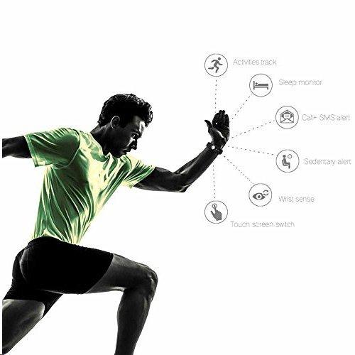 Fitness Tracker,Luluking Smart watch with Sleep Monitor, Bluetooth 4.0 Waterproof Smart Wristband Bracelet Sport Pedometer Activity Tracker with Alarm/Step Tracker/Calorie Counter/Sleep Tracker for Android,iPhone IOS Smart Phone – Men Women Boys Girls Ladies Man Black