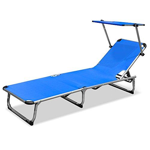 Lettino stabilimento pieghevole mare spiaggia alluminio blu 187x60x30cm 780/30e