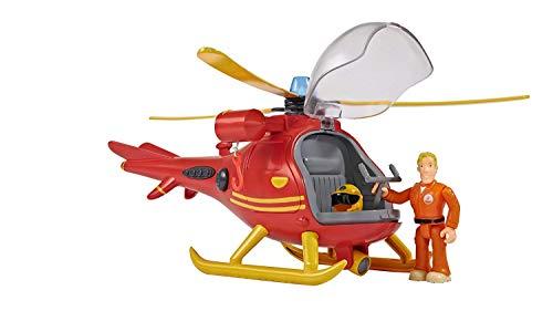 Simba - Feuerwehrmann Sam Hubschrauber Wallaby, mit Tom Thomas Figur, mit Licht und Originalsound, mit drehbarem Rotor und mechanischer Seilwinde, 24cm, für Kinder ab 3 Jahren