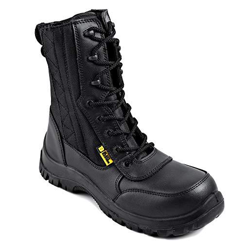Black Hammer Stivali di Sicurezza in Pelle da Uomo con Punta in Acciaio S2 SRC Impermeabili Esercito Militare per Combattere Camminare Cerniera di per Lavorare 9999 (42 EU)