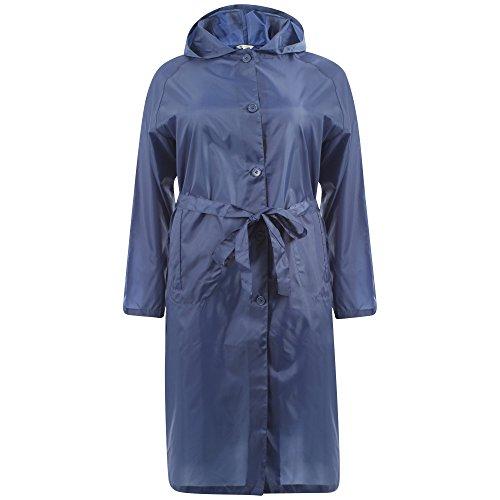 i-smalls femmes de douche imperméable Mac Manteau de pluie avec capuche et ceinture Bleu marine véritable