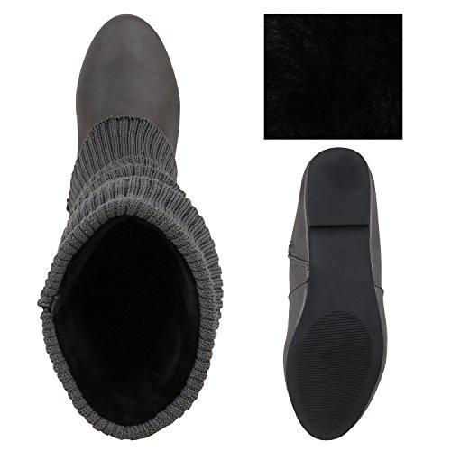 Klassische Stiefel Damen Stulpen Strass Warm Gefüttert Bequem Grau