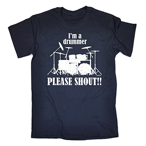 123t-da-uomo-i-m-a-drummer-please-shout-loose-fit-maglietta-invecchiato-stile-stampa-navy-medium