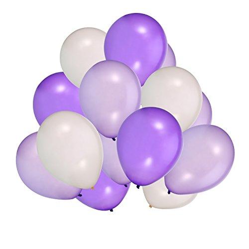 Weiß Lila Ballons für Party Dekorationen, 100 Stück, 3 Farben