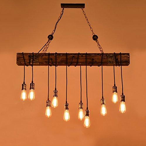 10 Licht Kronleuchter (Lihuideng Industrieller Windbar-Artleuchter Wohnzimmer Esszimmer Kronleuchter Retro-Massivholz Eisen 10 Licht Kronleuchter)