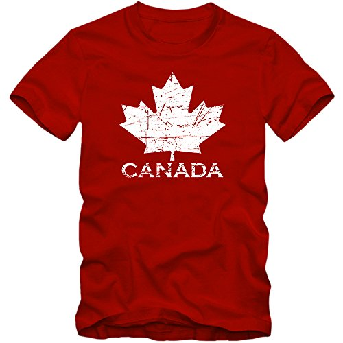 Shirt Happenz Kanada Ice Hockey Premiumherrenshirt |Herren | Ahornblatt | Eishockey WM 2015 Canada | Can |Vintage | 100% Baumwolle | XS-5XL, Farbe:Rot (Red L190);Größe:XL (Kanada-tag T-shirt)