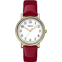 Timex T2P464–Ladies Watch–Analogue Quartz–Light–Leather Bracelet Red