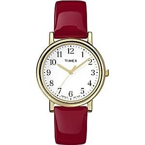 Timex - T2P464 - Montre Femme - Quartz - Analogique - Eclairage - Bracelet Cuir Rouge