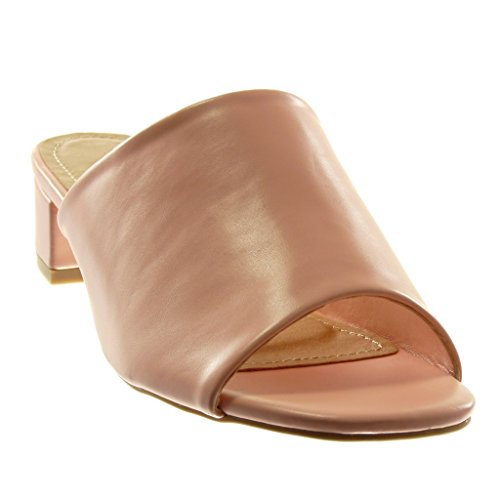 Chaussures Angkorly Fashion Sandales Mules Slip-on Femmes High Block Talon 4 Cm Rose