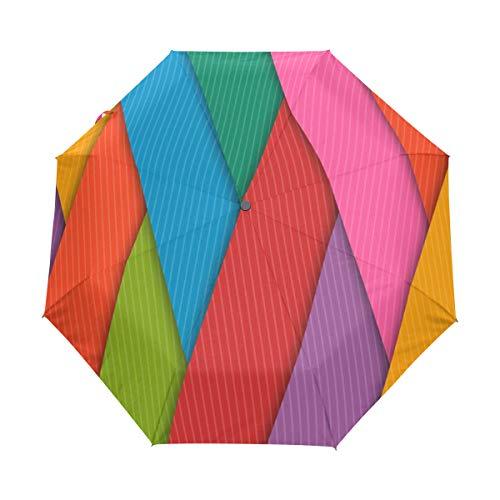 Bennigiry - Paraguas Plegable de 3 Pliegues, Cierre automático, tamaño de Golf Plegable y Resistente al Viento, para Viajes, con Lluvia compacta y automática