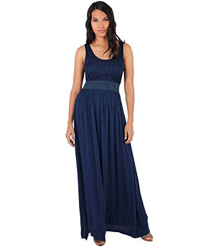 KRISP® Femme Robe Longue Unie Motif Buste Bleu Marin