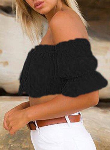 ACHICGIRL Women's off Shoulder Short Sleeve Ruffle Crop Top Black