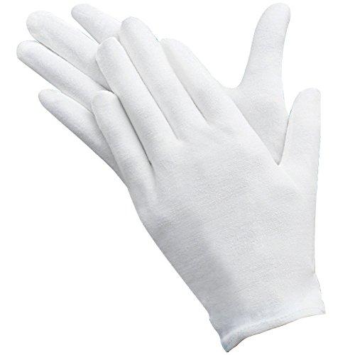 Umsole Lot de 10paires de gants de protection fins, doux et légers en coton avec élastique Idéal pour manipuler pièces de monnaie et bijoux Taille L, blanc