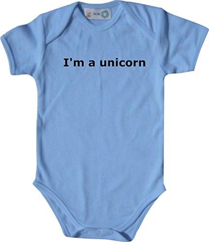 Baby Body; I'm a unicorn; Farbe Babyblau; Größe 62-68 (3-6 Monate)
