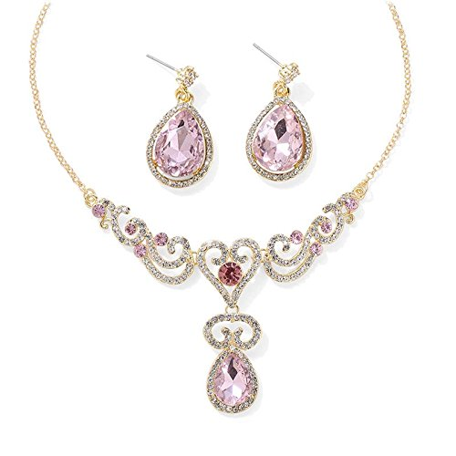Jewels Galaxy Crystal Elements Elegant AD Incredible Design Gold Plated Stunning Pink Necklace & Earrings Set For Women/Girls  available at amazon for Rs.549