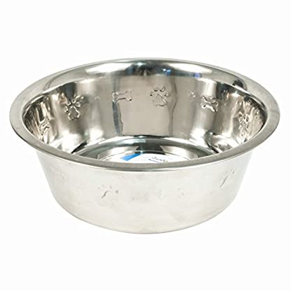 2 x Stainless Steel Metal Pet Dog Medium Puppy Feeding Food Water Bowls With Paw And Bone embosed Design 21x21x6.5cm 1