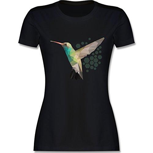 Shirtracer Vögel - Colibri - Damen T-Shirt Rundhals Schwarz