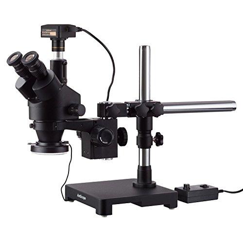 AmScope 7X-90X Triinokular-Stereo-Zoom-Mikroskop mit einem Arm Galgenstativ + 144 LED Ringlicht mit 10 MP USB 3.0 Kamera
