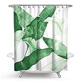 Bishilin Badewannen Duschvorhang 180x180 Grün Pflanze 3D Lustiger Duschvorhang aus Polyester-Stoff